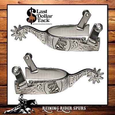 Mens Finest Quality Brushed Satin Heavy Stainless Steel Western Roper Show Spurs