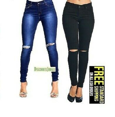 junior WOMENS BLUE/black Stretch Denim JEANS Knee Skinny Ripped Distressed Pants