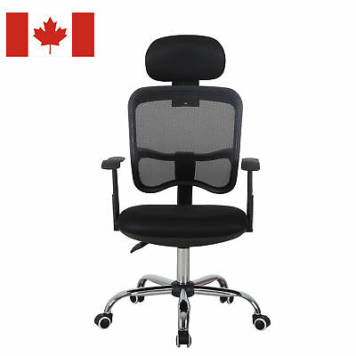 HOMCOM Adjustable High Back Mesh Office Chair Swivel Computer Desk Seat Headrest