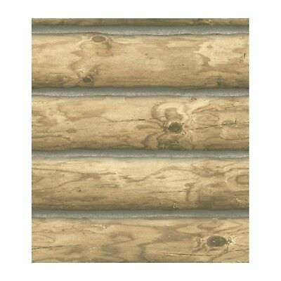 "Light Brown Rustic Cabin Mountain 6"" Wood LOGS Wallpaper CH7980 Double Roll Bolt"