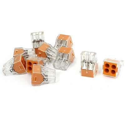 AC250V 24A 0.75-2.5mm2 1.5-2.5mm2 4Way Terminal Block Push Wire Connector 10Pcs