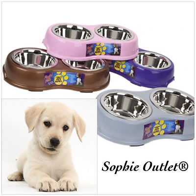 MEDIUM Size Stainless Steel Dog Bowl Cat Puppy Pet Non Slip Food Water Feed
