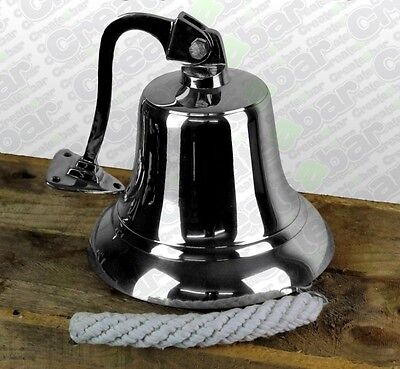 "7"" Hanging Ships Wall Bell - SOLID Brass - Wall Fixing / Mounted - CHROME"