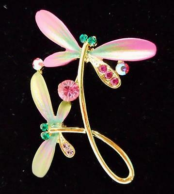 Dragonfly Pin Brooch Pink Green Bejeweled Swarovski Crystals Rucinni 9876