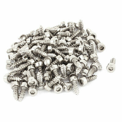 4mm x 12mm Threaded Nickel Plated Hex Head Self Tapping Screws 100 Pcs