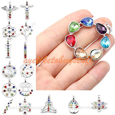 7 Crystal Gem Faceted Bead Charm Healing Chakra Pendant For Necklace Jewellery