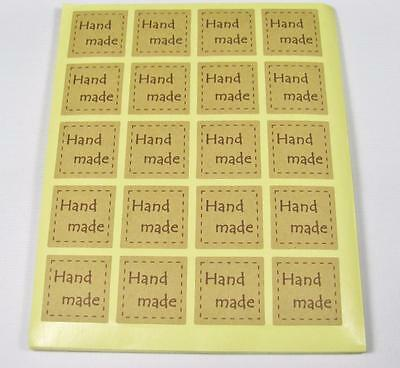 KRAFT STICKERS natural square handmade pk of 40 gift labels seals party bags
