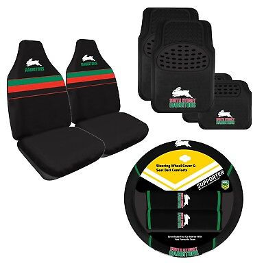 Rabbitohs Nrl Licensed Seat Covers Floor Mats Steering Wheel Cover Belt Combo
