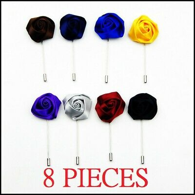 Lot 8 COLORS Rosebud Flower Lapel Men's Boutonniere Corsage Brooch Pin Sticks