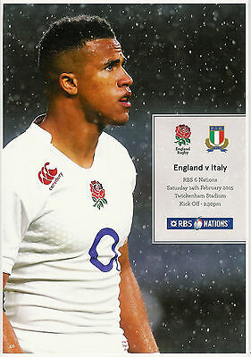 England v Italy Six Nations 14 Feb 2015 Twickenham RUGBY PROGRAMME