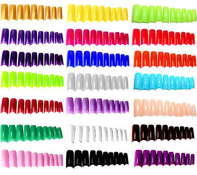 20 100 500 Set FALSE NAIL TIPS Fake Half Nails Plastic Moon Acrylic Art Coloured