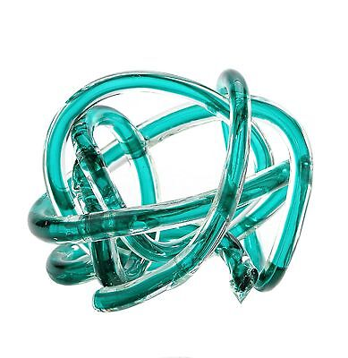 "New 6"" Hand Blown Art Glass Knot Sculpture Figurine Statue Green"