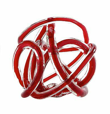 "New 6"" Hand Blown Art Glass Knot Sculpture Figurine Clear Red"
