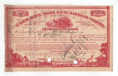 1862 St. Louis, Alton and Terre Haute Railroad Company Stock Certificate