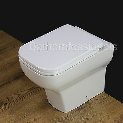 Toilet WC Back to Wall Ceramic Extra Comfort Height Soft Close Seat B7N NEW