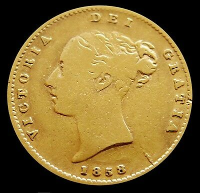 1858 Gold Great Britain 1/2 Sovereign Young Head Victoria Coinage Very Fine