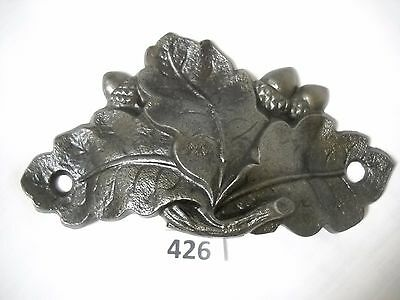 Antique Cast Iron Bin Drawer Pull Oak Leaf Acron Orginal
