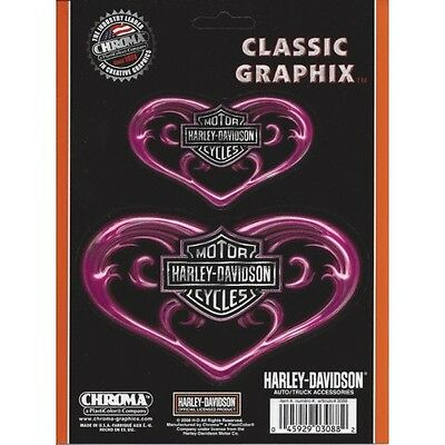 Harley-Davidson Pink Hearts Classic Graphix 2 Decal Set Free shipping in US