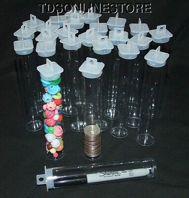 "Large Round Clear Plastic Storage Tubes 5.5"" by 1""  Package of 100"