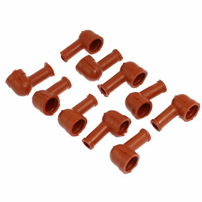 10 x Smoking Pipe Shaped Battery Terminal Boots Cover Sleeves Brown