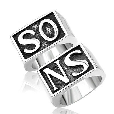 Men Stainless Steel SONS Punk Ring Band SO NS Silver Wedding Biker Motor US 7-15