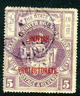 NORTH BORNEO-1912 $5 Dull Purple (r) A very fine used  example with cert Sg 184