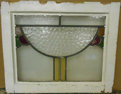 "OLD ENGLISH LEADED STAINED GLASS WINDOW Interesting Abstract Design 20.75"" x 17"""