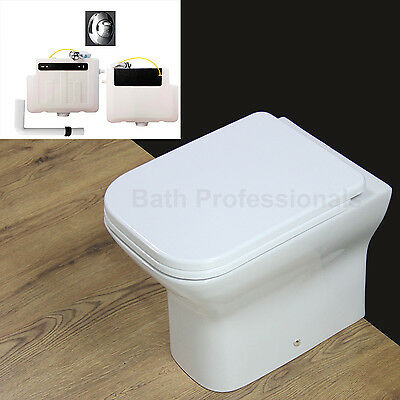 Toilet Bathroom Back to Wall Compact Ceramic Square Short Project Seat  Cover B8
