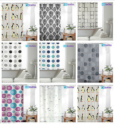 New Shower Curtain with Ring Hooks, PEVA Bathroom Shower Curtains, 180 x 180 cm