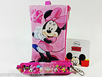 Disney Minnie Mouse Lanyard With Detachable Coin Pouch/wallet/purse-New!