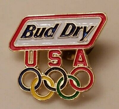 1996 BUD DRY BEER OLYMPICS OLYMPIC RINGS PIN Atlanta Soccer Promo USA