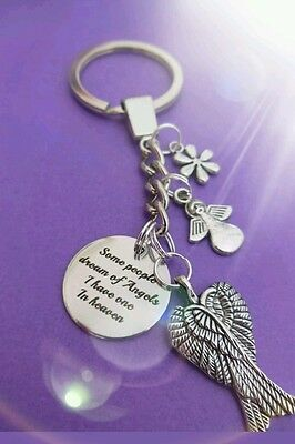 Dream of angels, in memory.memorial key ring
