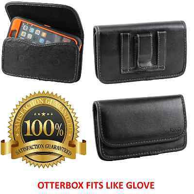 Leather Pouch With Belt Clip Loop To Hold Otterbox Defender Case For Large Phone