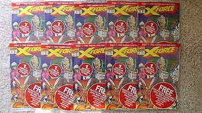 Lot of 10 copies: X-FORCE #1 MARVEL 1991 SEALED w/ 2 of EACH CARDS incl DEADPOOL