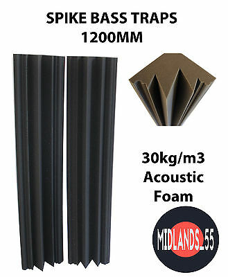2 Pro SPIKE Acoustic Foam 3 ft 11¼ in (1200mm) Bass Traps Sound Treatment