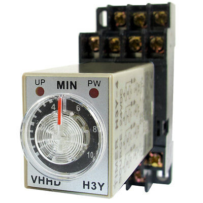 DC 24V 10Min 0-10 Minute Delay Timer Time Relay H3Y-4 w 14 Pin DIN Rail Socket