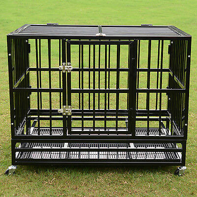 """37""""/48"""" Heavy Duty Dog Cage Crate Kennel Metal Pet Playpen Portable w/ Tray NEW"""