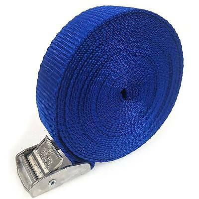 2 Buckled Straps 25mm Cam Buckle 5 meters Long Heavy Duty Load Securing Blue