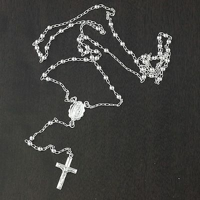 """3.0mm 24/"""" Oval Bead Rosary Rosario Chain Necklace Real 925 Sterling Silver 10gr"""