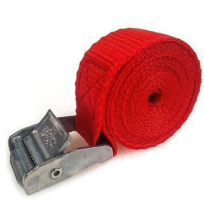 7 Buckled Straps 25mm Cam Buckle 1.5 meters Long Heavy Duty Load Securing Red