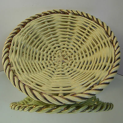 Ancien Plat Corbeille Ceramique Tressee Antique French Braid Art Pottery Basket