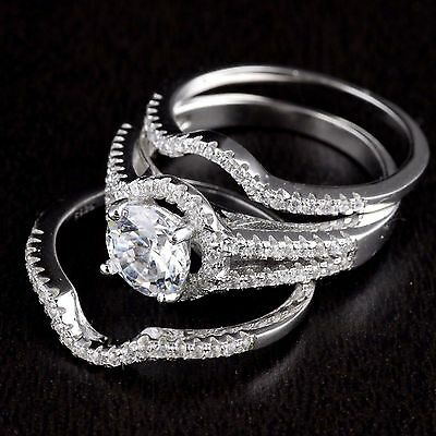 Womens Solid 925 Sterling Silver CZ wedding Solitaire 3Pcs Matching Band Ring