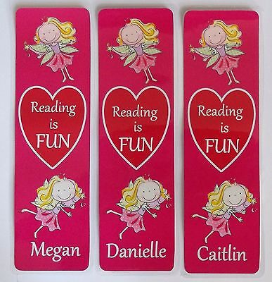 3 CHILDRENS PERSONALISED BOOKMARKS,'FAIRIES',I LOVE READING.LAMINATED.18cmx5cm