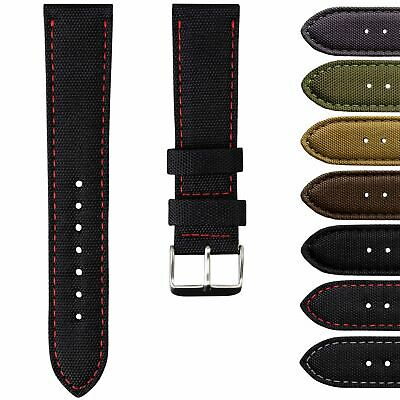 Geckota® Nylon Canvas Fabric Padded Durable Sport Watch Strap 20 or 22mm