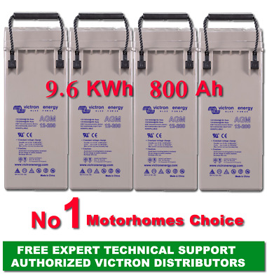 9.6 KWh 800 AH 12V AGM DEEP CYCLE VICTRON ENERGY BATTERY  KIT FREE EU Delivery