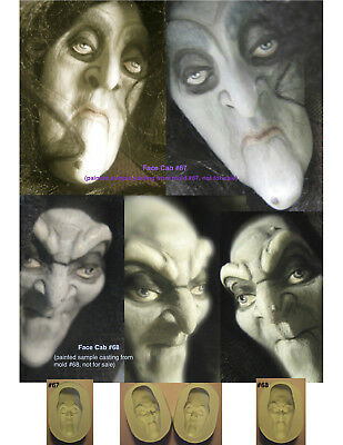 YOUR CHOICE - Flexible Silicone Molds of Doll Face Cabs (Witch, Hag, Warlock)