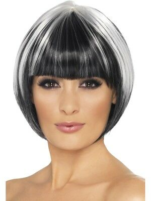 Quirky Bob Wig Ladies Black And White Streaked Fancy Dress Bob Wig
