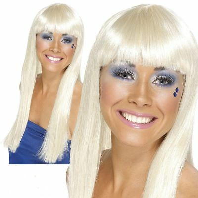 Dancing Queen Wig 70's Ladies Fancy Dress Super Trooper Long Blonde