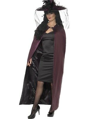 Reversible Cape Purple And Black Vampire Halloween Fancy Dress Cloak Cape