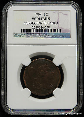 1794 Flowing Hair Large Cent NGC Certified VF Details
